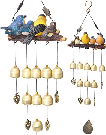 Bird Wooden House Landscape Home Patio Room Decor Wind Chime Bell Ornaments LA