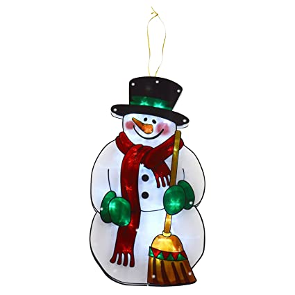 Window Silhouette Led Light Up Hanging Christmas Decoration Snowman Battery 45cm