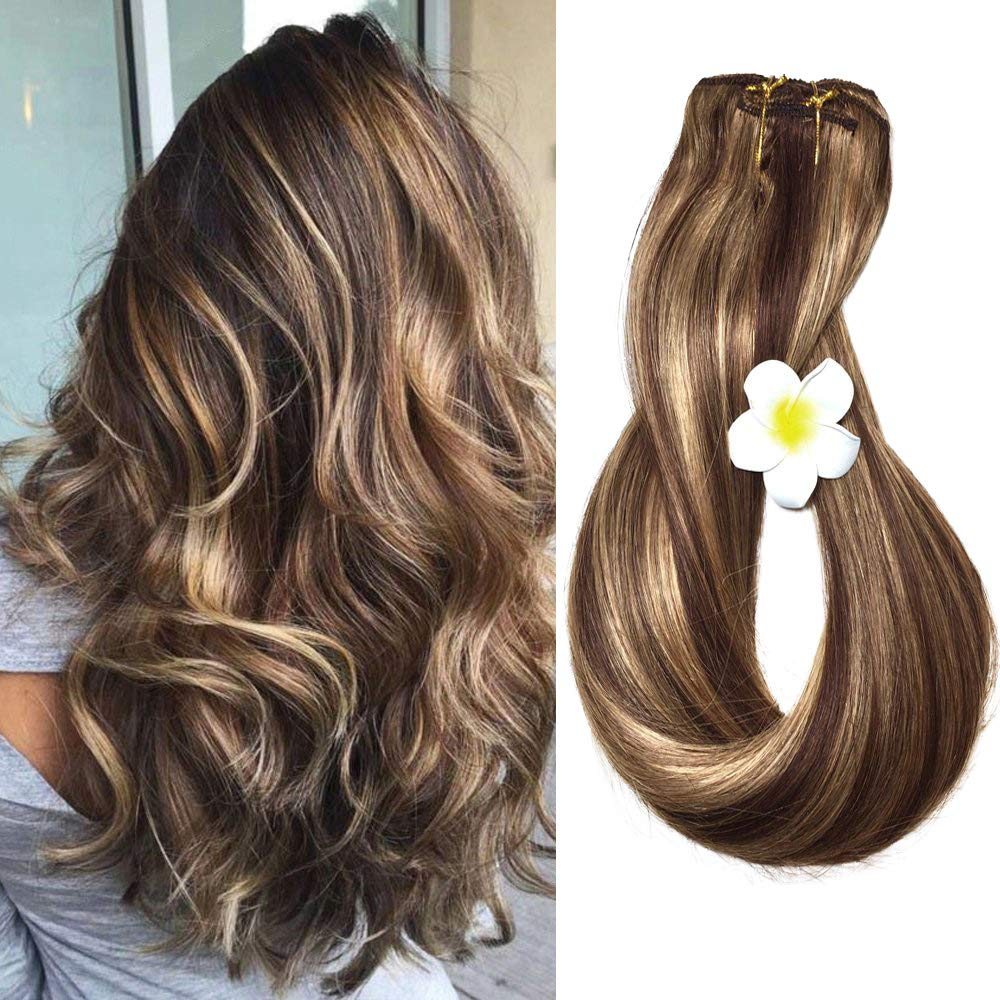 Clip in Human Hair Extensions Medium Brown with Honey Blonde Highlights 4/27 Clip on Balayage Ombre Hair Extensions 14 inch 7 PCS Full Head Silky Straight Long Fine Hair 70g Remy Hair by Shebeauty