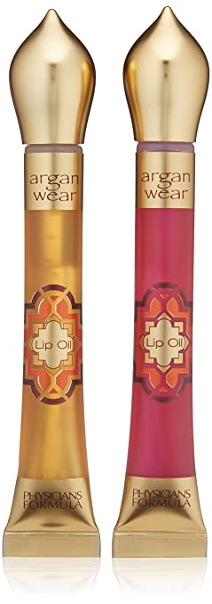 Physicians Formula Argan Wear Ultra-Nourishing Argan Lip Oil Duo, Liquid Gold/Pink, 0.6 Fluid Ounce