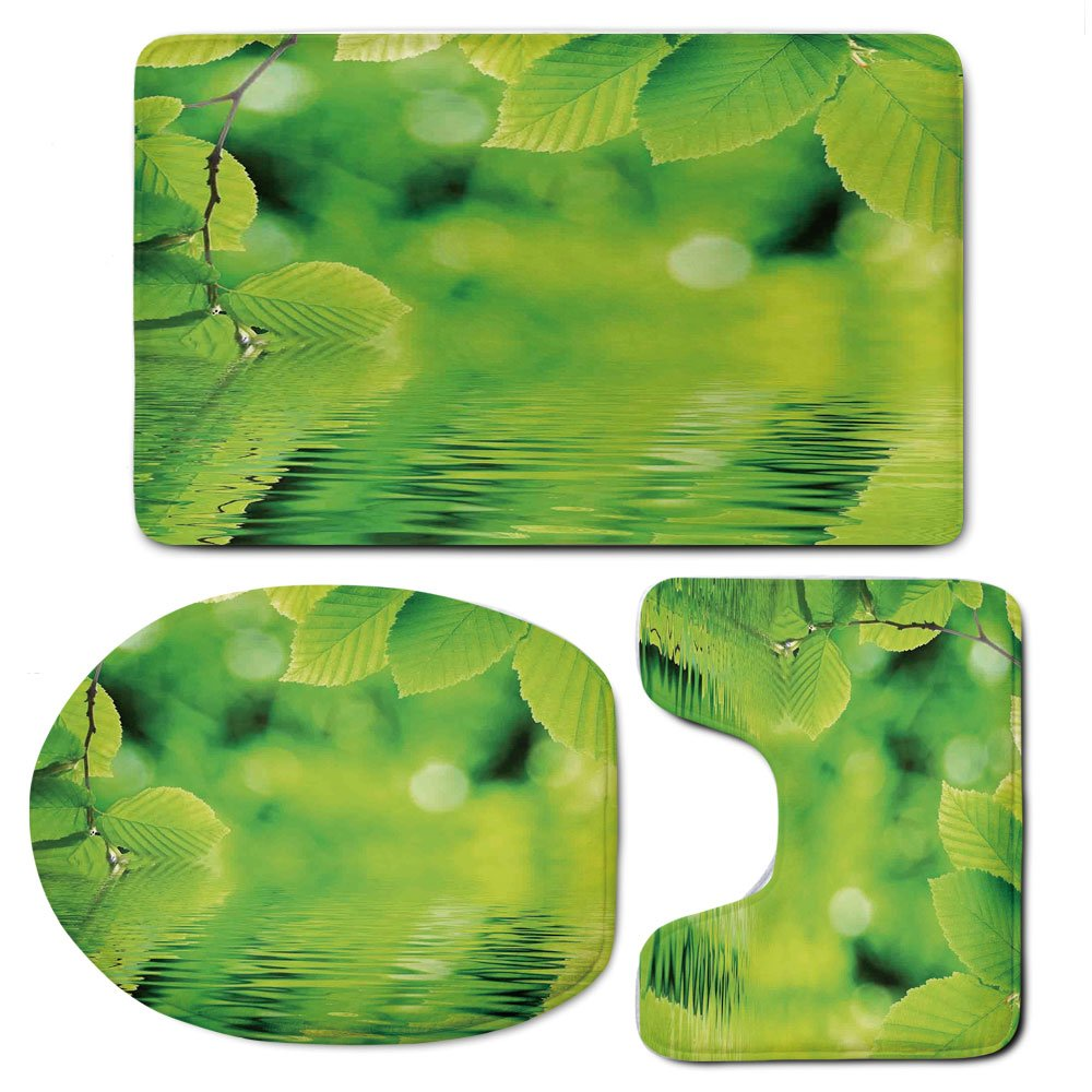 3 Piece Bath Mat Rug Set,Leaves,Bathroom Non-Slip Floor Mat,Leaves-in-Water-Spa-Open-Your-Chakra-with-Nature-Meditation-Ecological-Monochrome-Photo,Pedestal Rug + Lid Toilet Cover + Bath Mat,Green