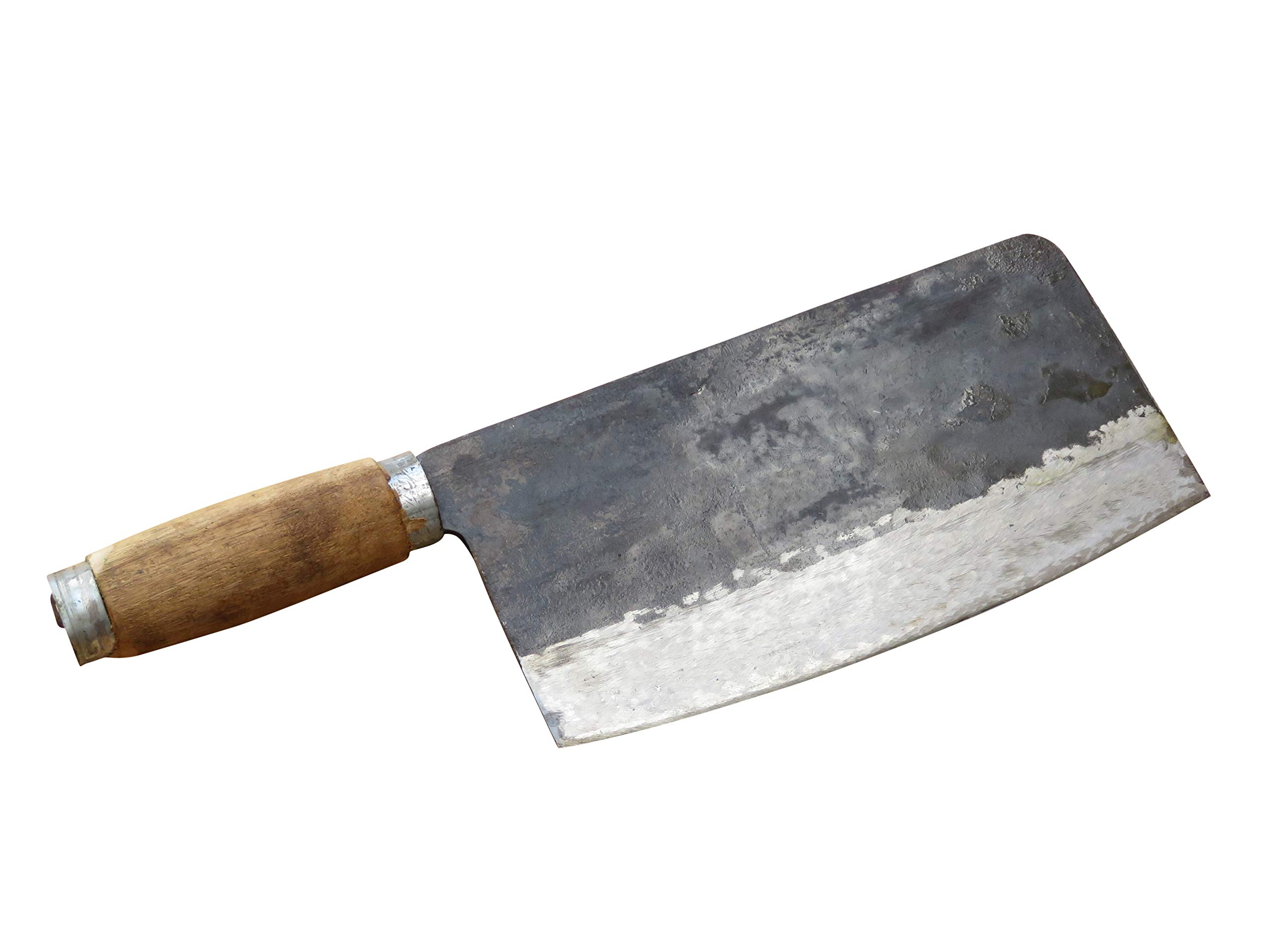 Crude - Chinese Cleaver Meat Chopping Chef Knife, 8 inch, Carbon Steel, Forged