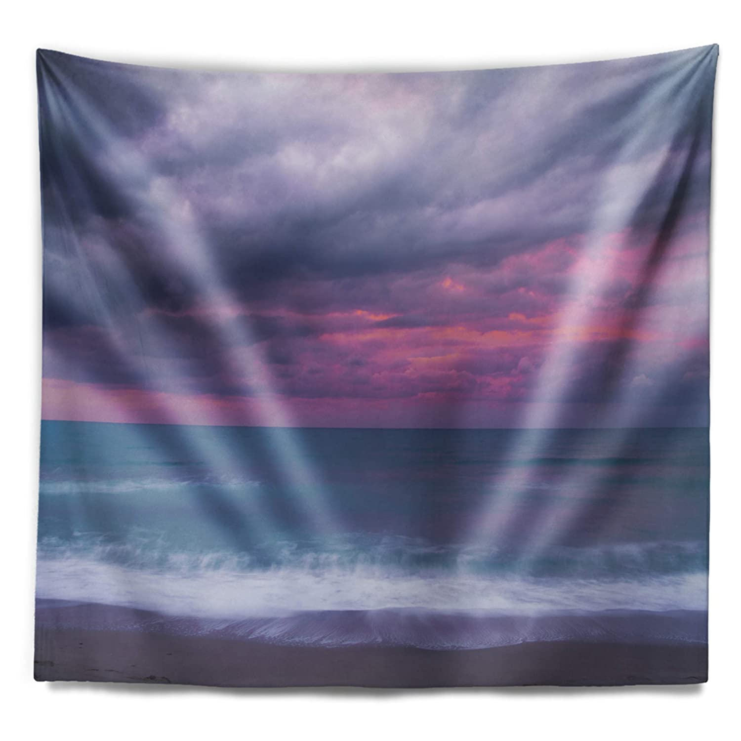 Designart TAP14674-39-32  Blue and Pink Unset Over Sea Seashore Blanket D/écor Art for Home and Office Wall Tapestry Medium 39 in x 32 in Created On Lightweight Polyester Fabric
