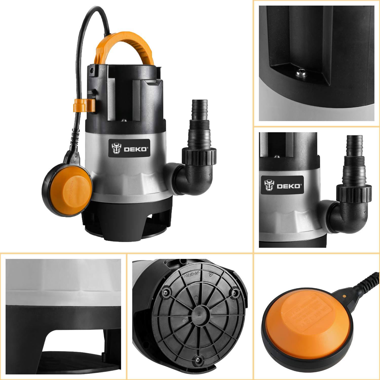 DEKO Sump Pump 1HP 3302GPH 750W Submersible Clean/Dirty Water Pump Swimming Pool Garden Tub Pond Flood Drain w/Float Switch and Long 16ft Cable by DEKO (Image #5)