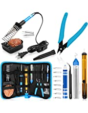 Soldering Kit, Soldering Iron, [Upgraded] Soldering Iron Kit 60w 110v Adjustable Temperature Welding Tool with ON-OFF Switch, 8-in-1 Screwdrivers, 2pcs Soldering Iron Tips, Solder Sucker, Soldering Iron Stand, Solder Wire, Tweezers