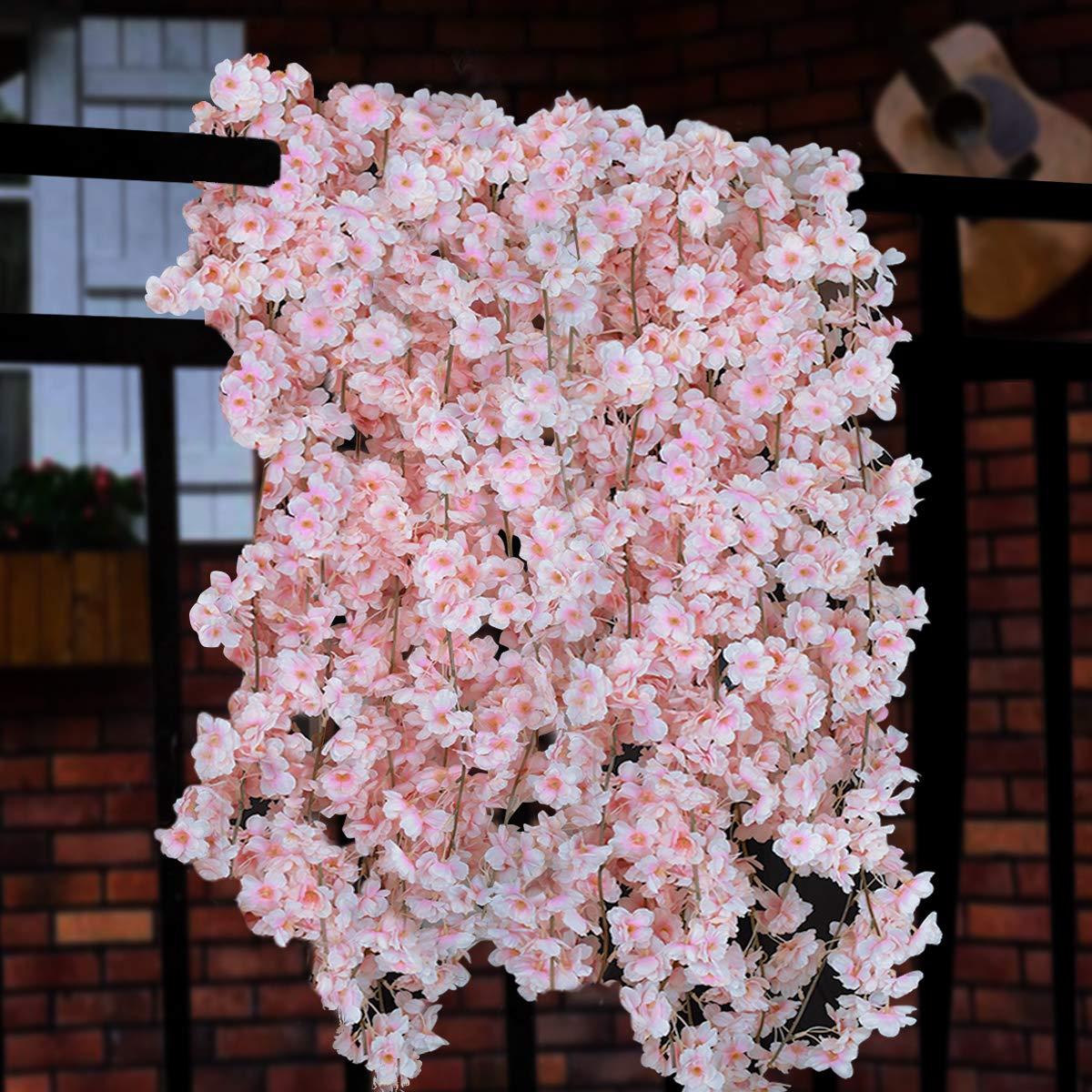 Amazon.com: Sunm boutique Artificial Cherry Blossom Garland Hanging ...