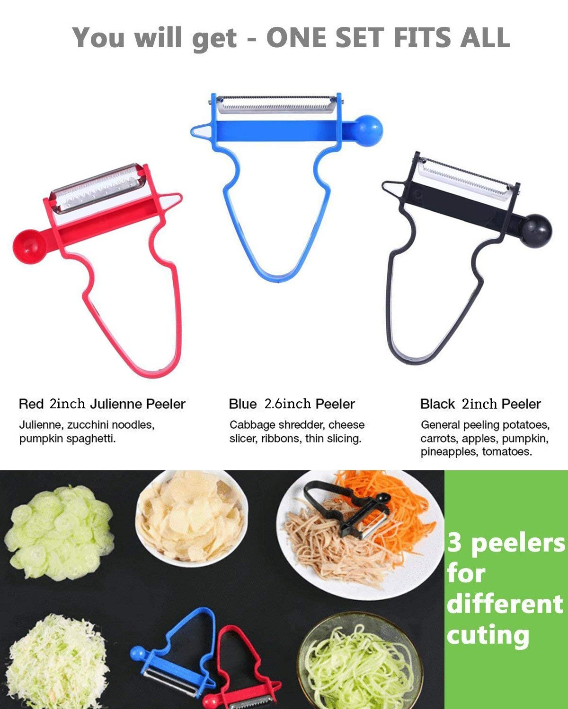 Magic Trio Peeler Set Kitchen Tools,3 Pcs Stainless Steel Slice Amazing Peeler Slicer Set for Cabbage, Vegetable, Fruit, Multifunction Kitchen Helper