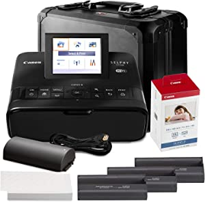 Canon SELPHY CP1300 Compact Photo Printer (Black) with WiFi w/Canon Color Ink and Paper Set + Case + Battery