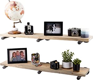 PIPE DÉCOR Industrial Pipe Wooden Shelves Restore Premium Ponderosa Pine Wood Shelving 36 Inch Length Set of 2 Boards and 6 Straight Brackets Driftwood Tan Finish