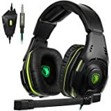 Sades SA938 Cuffie Da Gaming Con Microfono 3,5mm stereo Jack Controlli Sul Cavo Per PC/Nuovo Xbox One/PS4/Smartphones (Over ear, Nero&Verde)