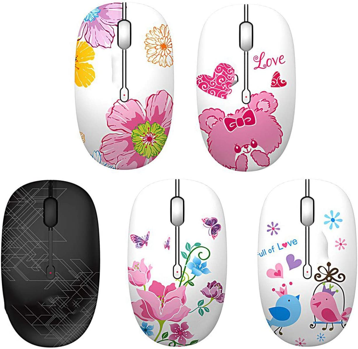 2.4G Wireless Mouse Exquisite Appearance 1600DPI Laptop Notebook Computer Wireless Optical Mouse,Butterfly,Poland