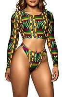 Viottis Women's African Tribe Pattern Crop Top Nop Pad Swimsuit Rashgaurd