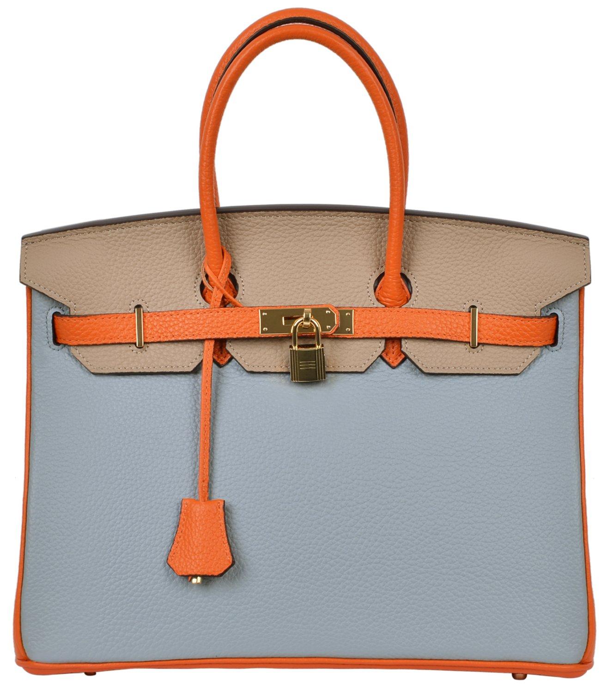 Cherish Kiss Women's Classic Genuine Leather Tote Padlock Handbags (35CM, Grey Blue/Taupe/Orange)