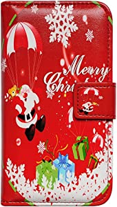 Bfun Packing Bcov Red Santa Claus Leather Wallet Cover Case for iPhone 6S Plus