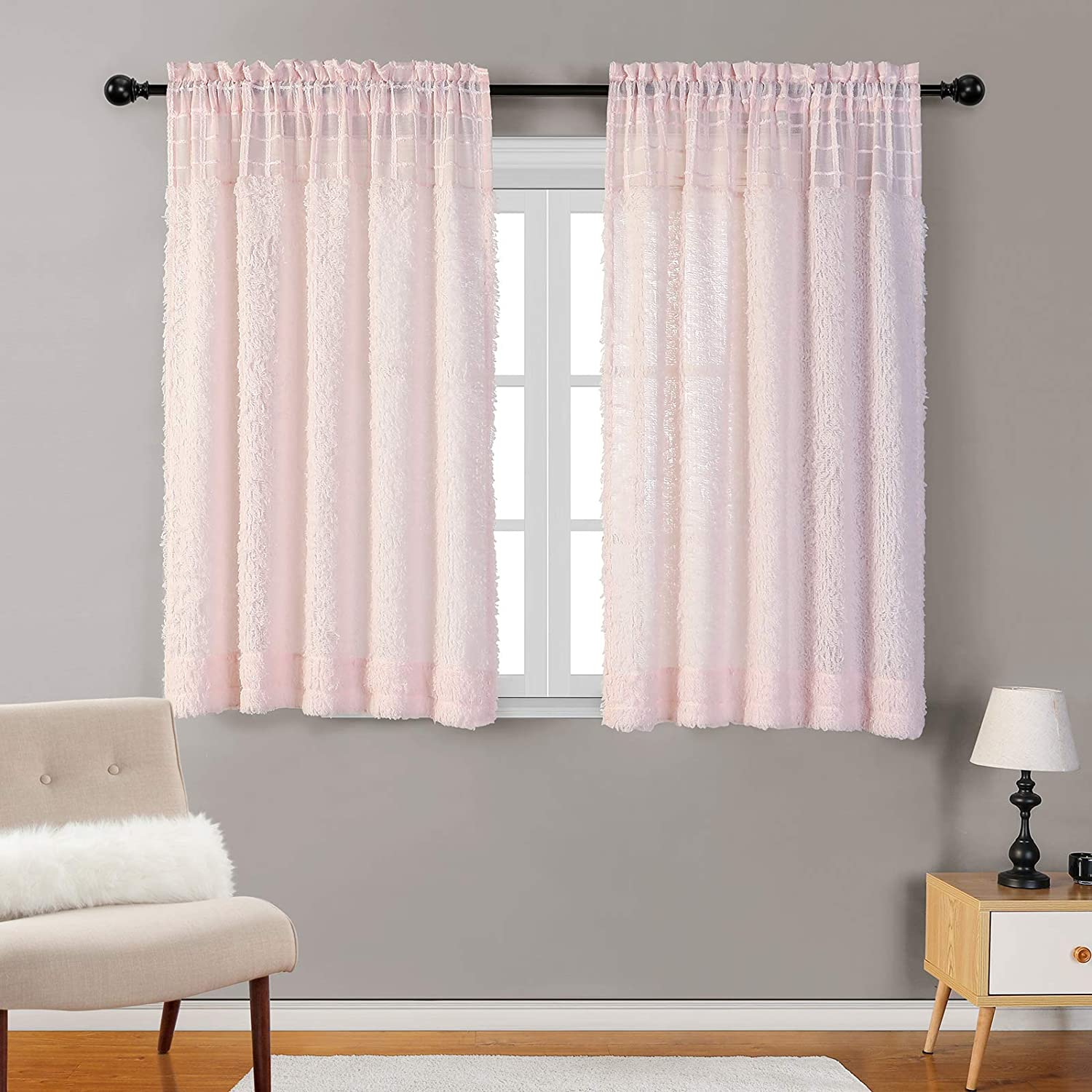 MYSKY HOME Pink Light Filtering Curtains 63 Inch Length Privacy Protection Textured Rod Pocket Sheer Curtains Thermal Insulated Window Treatment Draperies for Nursery Bedroom 2 Panels