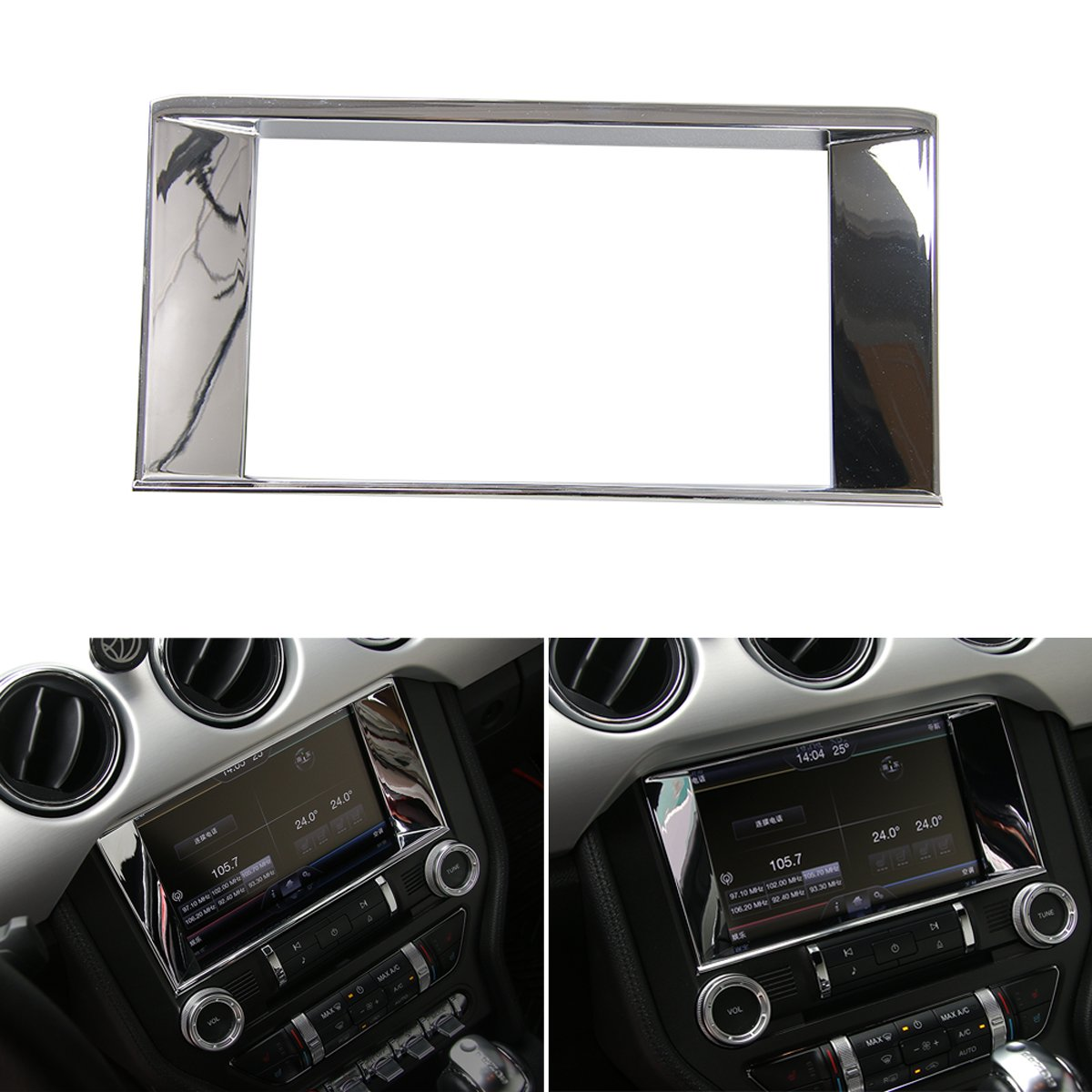 Car Center Console Multimedia Control Panel 8-inch Screen Frame Cover Decoration Ring Trim for Ford Mustang 2015 2016 2017