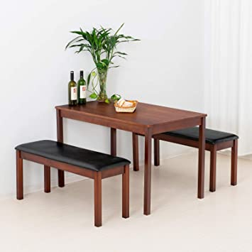 Tremendous Mecor 3 Piece Dining Set Table W 2 Padded Benches Solid Wood Tabletop And Pu Leather Benches For Home Kitchen Dining Room Furniture Creativecarmelina Interior Chair Design Creativecarmelinacom