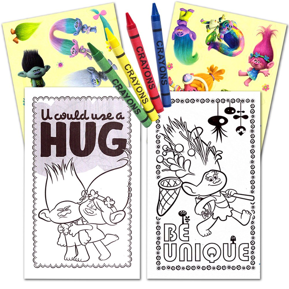 Trolls Ultimate Party Favors Packs Coloring Books and Crayons 6 Sets with Stickers Party Supplies