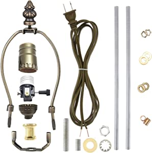 """Canomo Antique Brass Finish Make-A-Lamp Kit 3-Way with 8 Inch Lamp Harp, 2 Pieces 12"""" Lamp Pipe, and All Parts Needed and Instructions for DIY Lamp Design or Repair"""