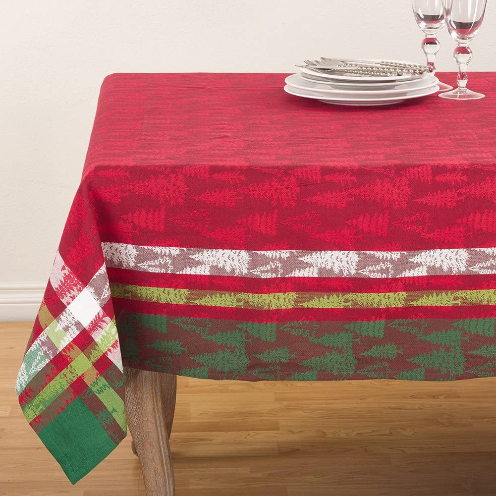 Fennco Styles Christmas Tree Plaid Design 100% Cotton Tablecloth 70 x 70 Inch - Red Table Cover for Home, Holiday, Family Gathering and Special Ocassion