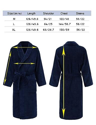 Mens Robe - Plush Shawl Kimono Bathrobe Fleece Pajama Sleepwear at Amazon Mens Clothing store: