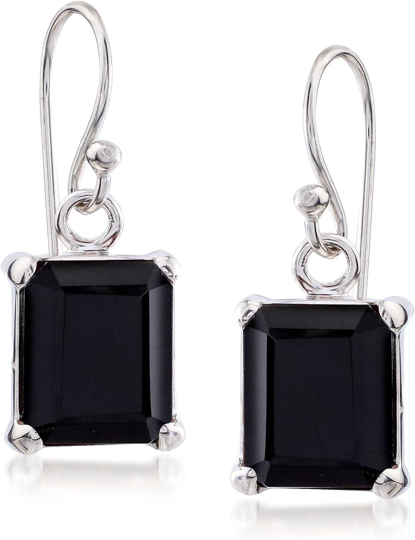Ross-Simons 10x8mm Emerald-Cut Black Onyx Drop Earrings in Sterling Silver For Women 925