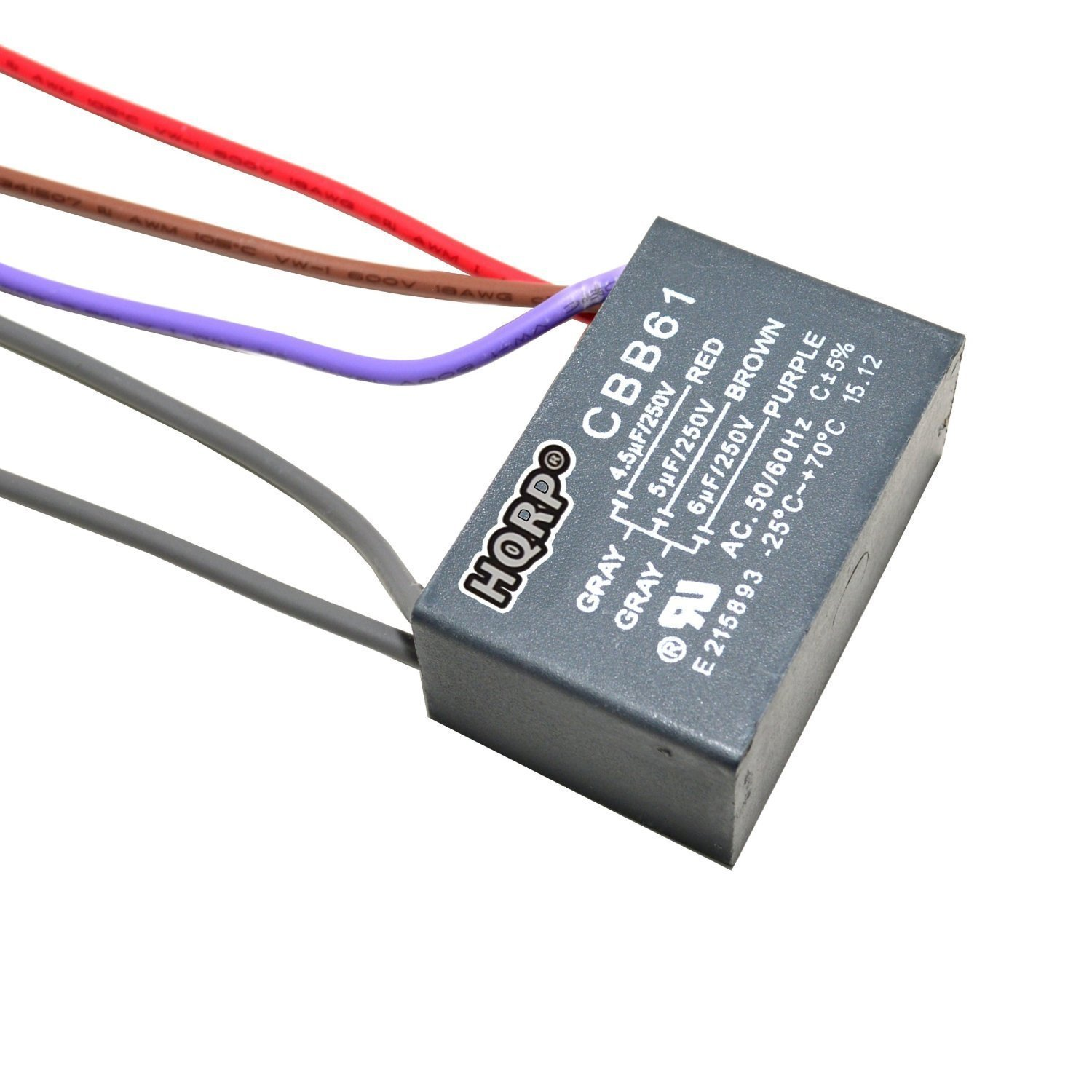 HQRP 5-Wire CBB61 Capacitor for Harbor Breeze Ceiling Fan 4.5uf+5uf+6uf + HQRP Coaster