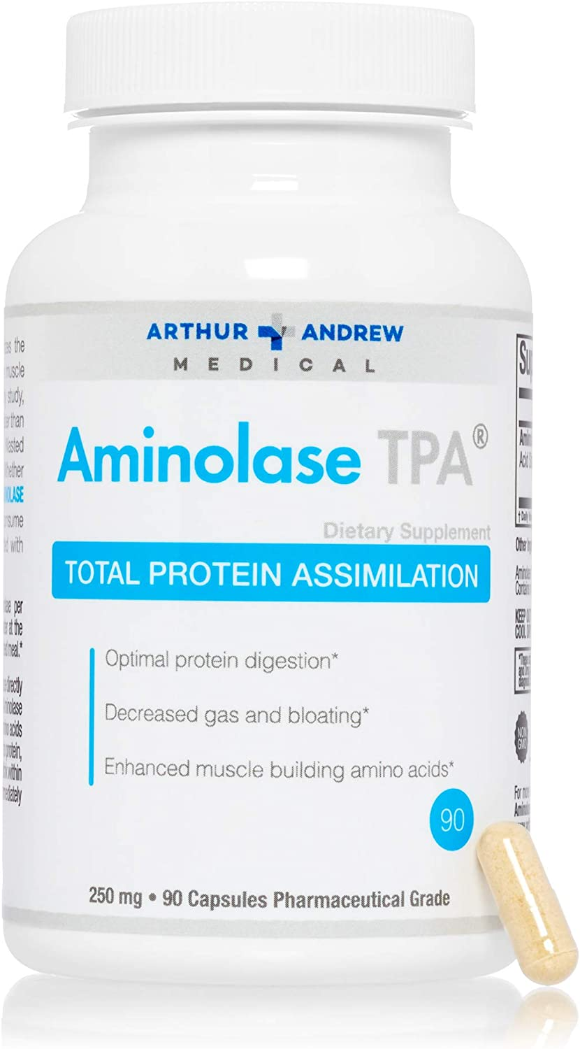 Arthur Andrew Medical - Aminolase TPA, Total Protein Assimilation, Optimal Protein Absorption and Decreased Gas and Bloating, Vegan, Non-GMO, 90 Capsules