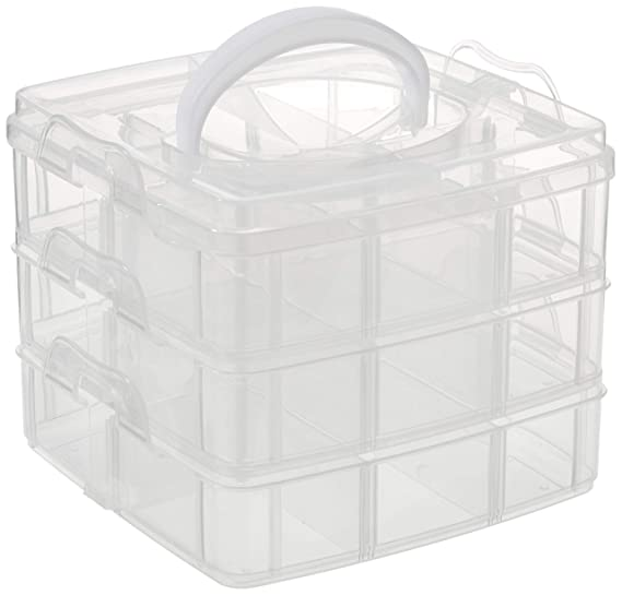 Rayher 3918100 Sortier-/Aufbewahrungsbox, transparent mit Tragegriff, ideal zur Aufbewahrung und Organisation, erweiterbar,mo