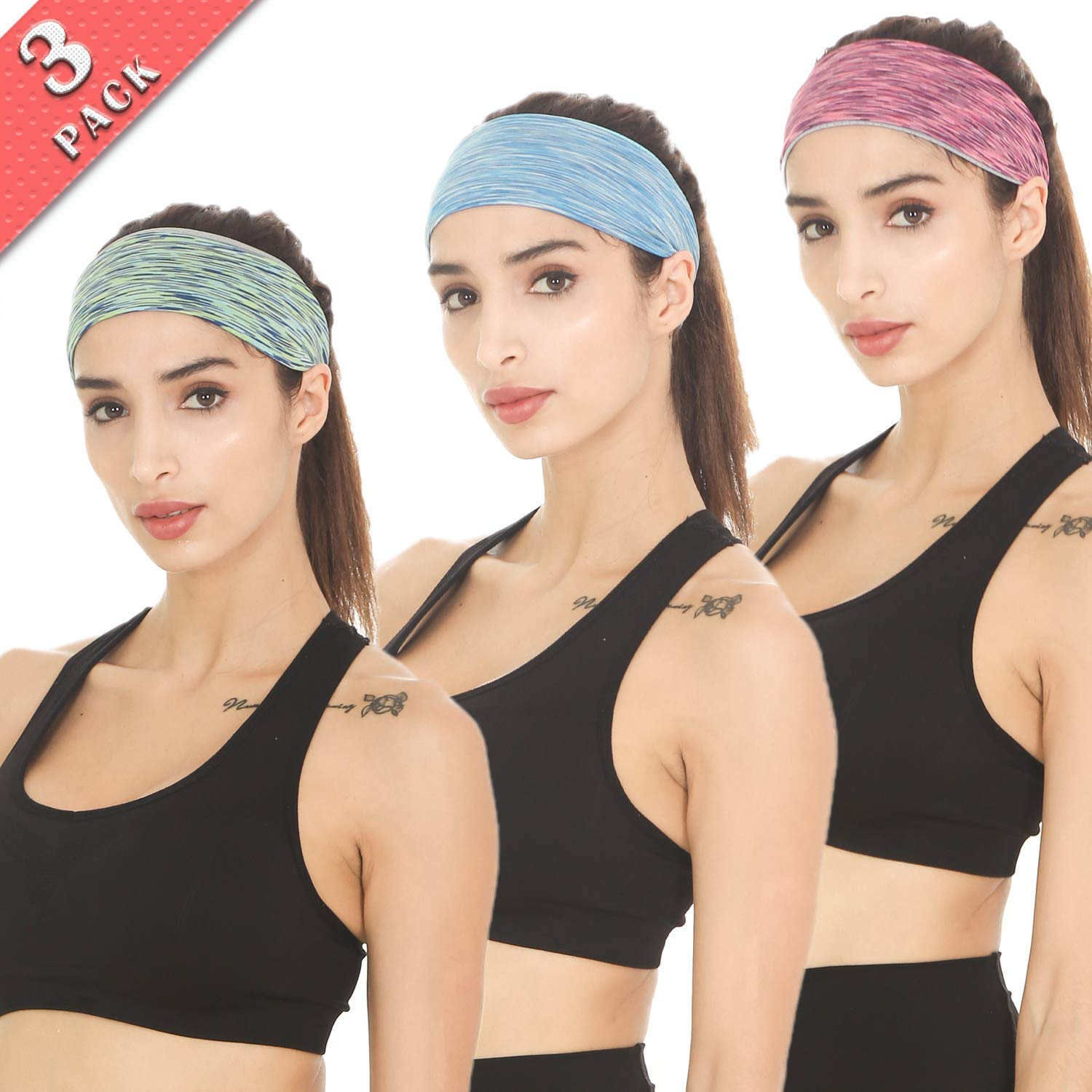 Braylin Women's Headbands, 3 Pack Sweat Workout Headbands for Women, Sport Cooling Headbands for Running Crossfit Fitness Yoga Cycling Hiking, Elastic Sweat Wicking Non Slip