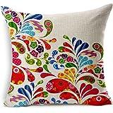Poens Dream Housse de Coussin, Beautiful Flowers Printed Cotton Linen Decorative Pillow Cushion Cover, 17.7 x 17.7inches