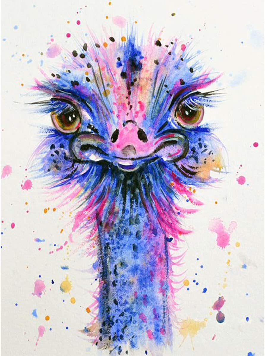 DIY 5D Diamond Painting Square Full Drill Diamond Art by Numbers Kit Diamonds Embroidery for Wall Decor Colorful Ostrich 11.8X15.7inch