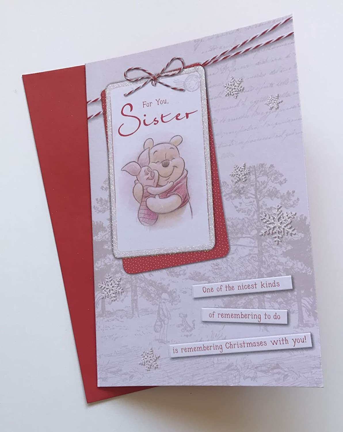 Winnie the pooh for you sister Christmas card Unique Christmas Gifts