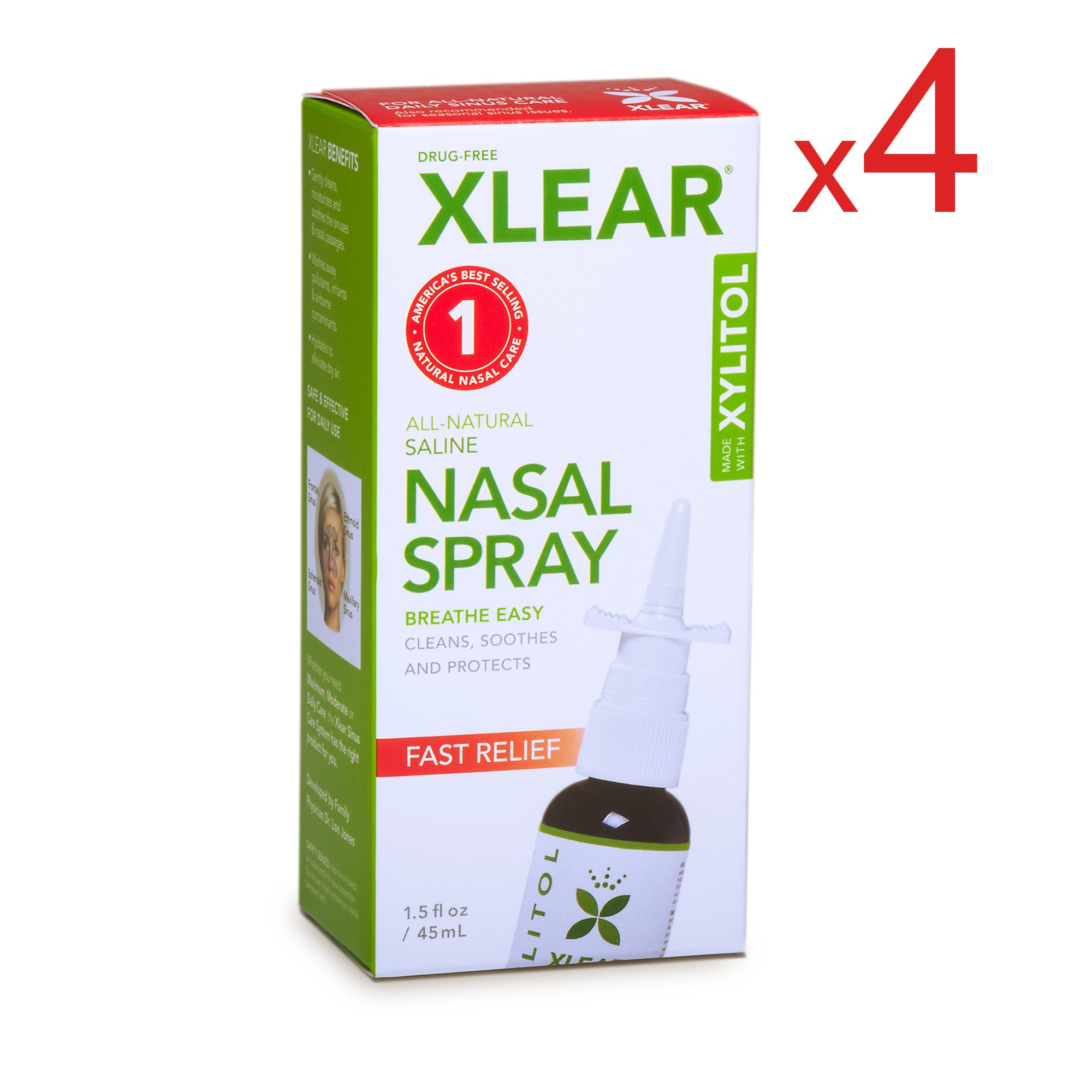 XLEAR Nasal Spray, 1.5 oz. (4 Pack) Natural Saline and Xylitol Moisturizing Sinus Care - Immediate and Drug Free Relief From Congestion, Allergies, and Dry Sinuses