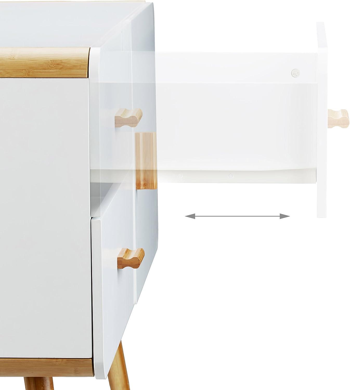blanc 70 x 100 x 47 cm Relaxdays 10020981  Commode nordique scandinave sideboard buffet meuble appoint 2 tiroirs pieds bois coins arrondis HxlxP