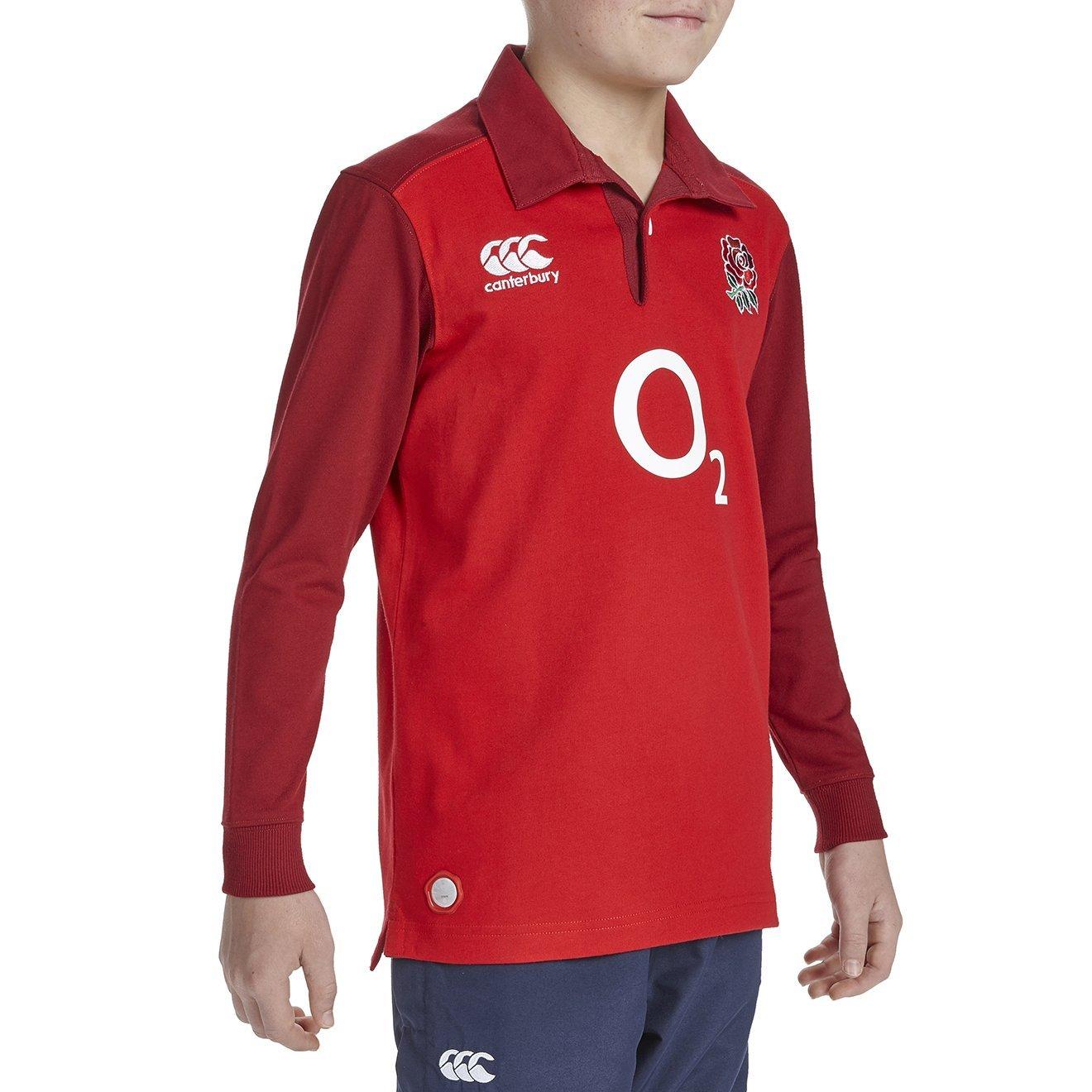 England Inglaterra 2015/16 LS Camiseta de Rugby Clã¡Sica Visitante Junior, Rojo/Negro, 10 Aã±Os
