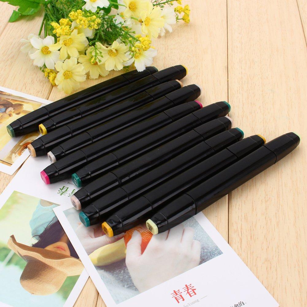 Juego de rotuladores con 40 marcadores de arte pincel doble 80/o 168/colores surtidos base alcohol con bolsa Negra 60 para bocetos marcador de aceite