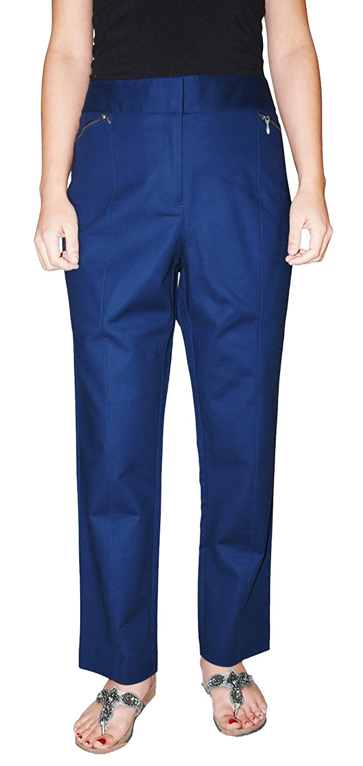 Style&Co. Women`s Plus Size Slim Leg Cotton Dress Pants (Navy, 16)