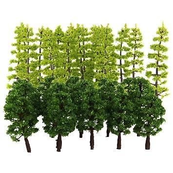 B Blesiya 40x Modelos Árboles Verdes para Modelismo Escena de Mesa ...