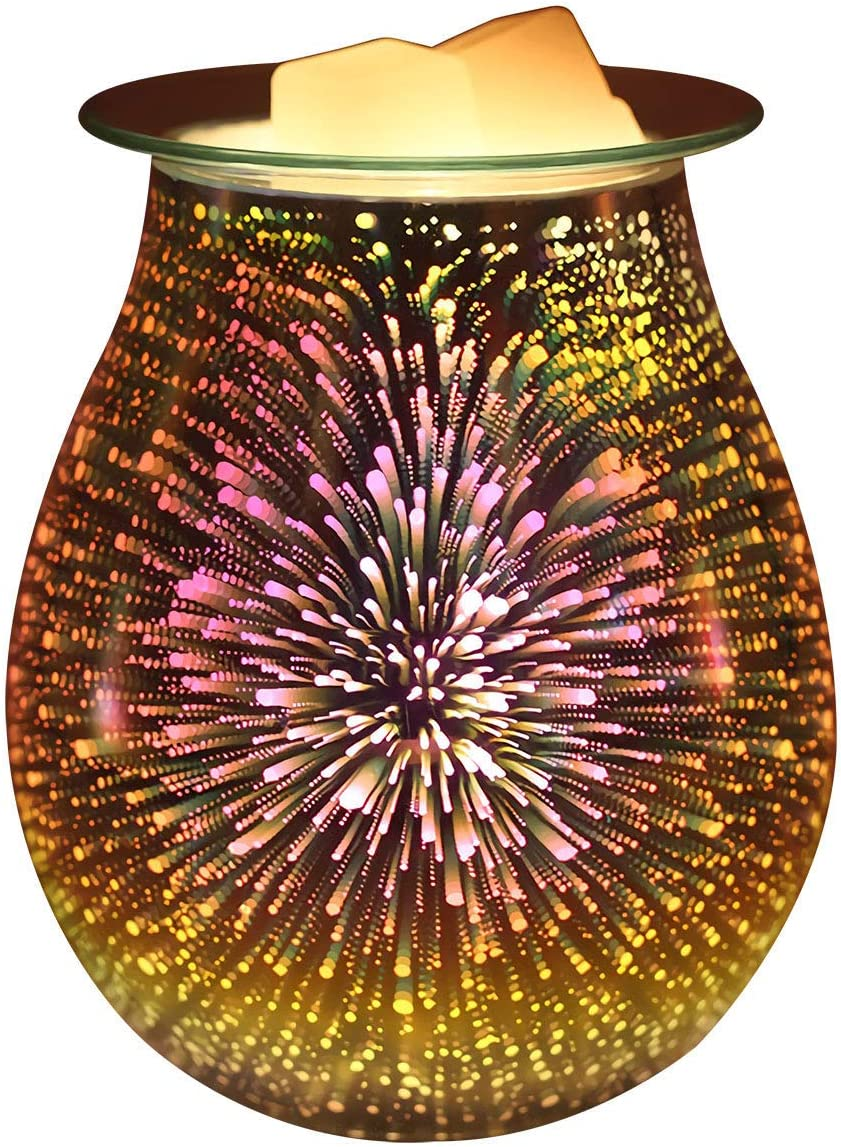 Singeek 3D Glass Electric Oil Warmer Candle Warmer Wax Tart Burner,Perfect Aroma Decorative Lamp for Home Office Gifts & Decor(Fireworks)