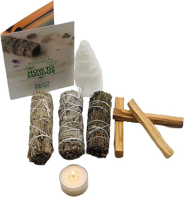 Smudge Kit Spiritual Gift Set - White Sage, Blue Sage, Rosemary, Palo Santo Sticks, Selenite Crystal, Dragon's Blood T-Lite Candle - for Purifying, Cleansing, Healing, Meditating, Blessing