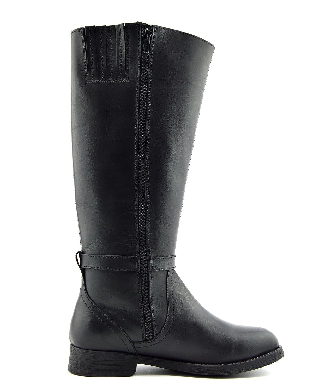 Kick Footwear Damen Leder Kniehohe Weites Reiterstiefel Elastisches Weites Kniehohe Wade Flache Stiefel schwarz Leder 980cee