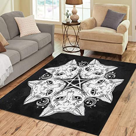 Pinbeam Area Rug Black Cat Head Round Portrait Madnala Moon Pentagram Home Decor Floor Rug 3 X 5 Carpet Kitchen Dining