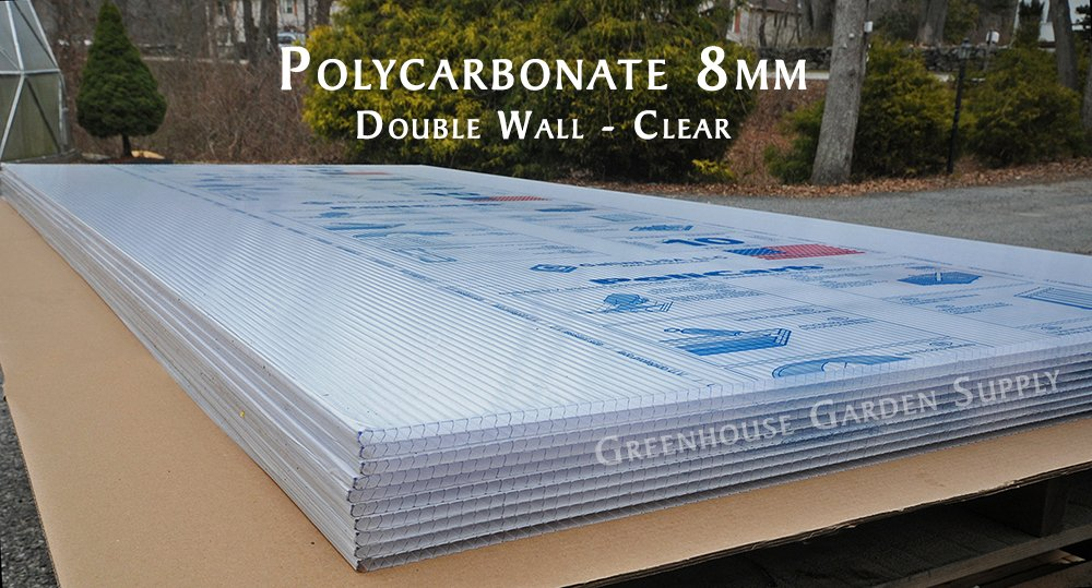 Polycarbonate Greenhouse Cover 8mm - Clear 48'''' x 96'' (Pak of 10)