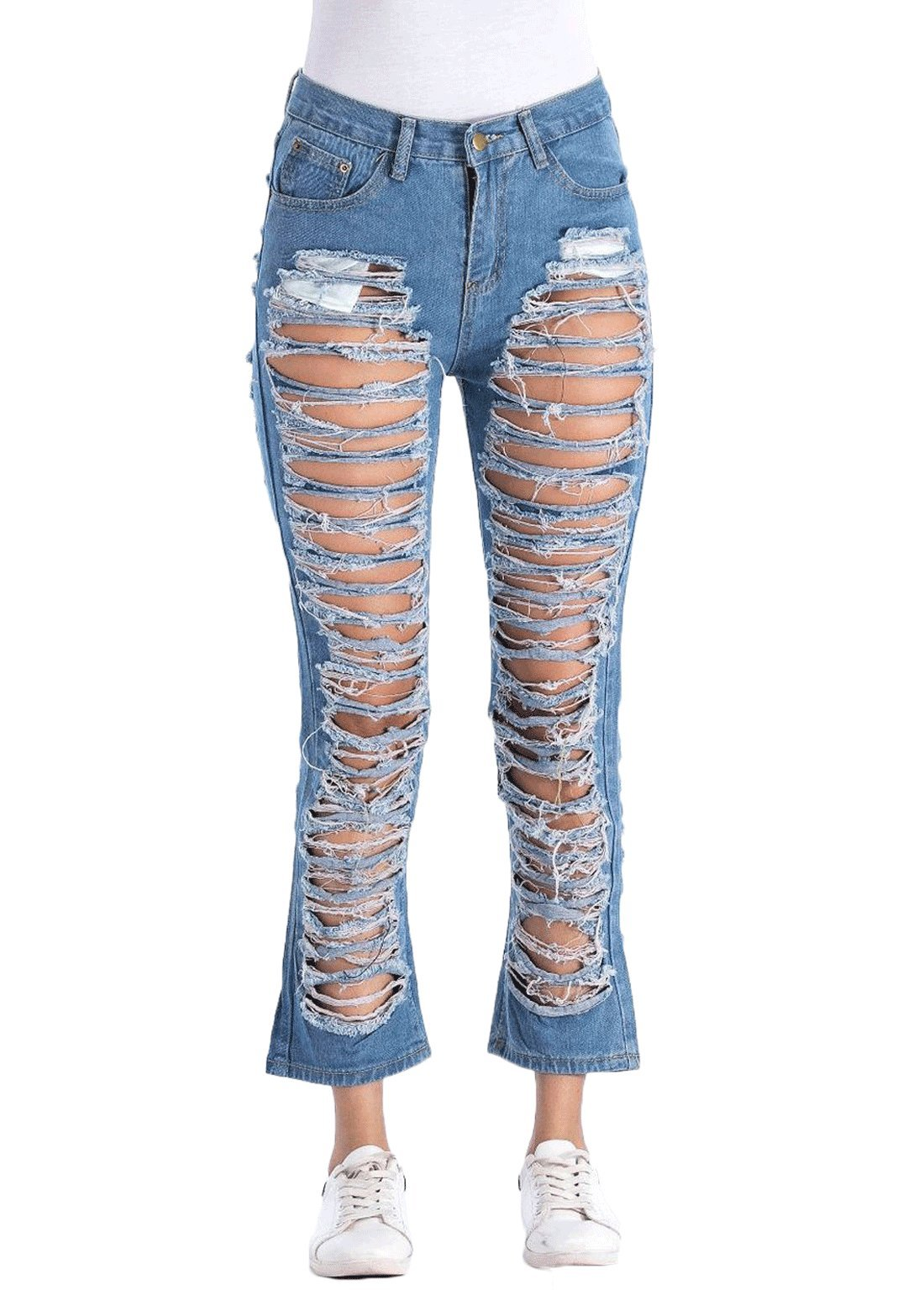 Chartou Women's Stylish Front-Back Ripped Torn Hole Denim Jeans Pants (Blue, X-Small)