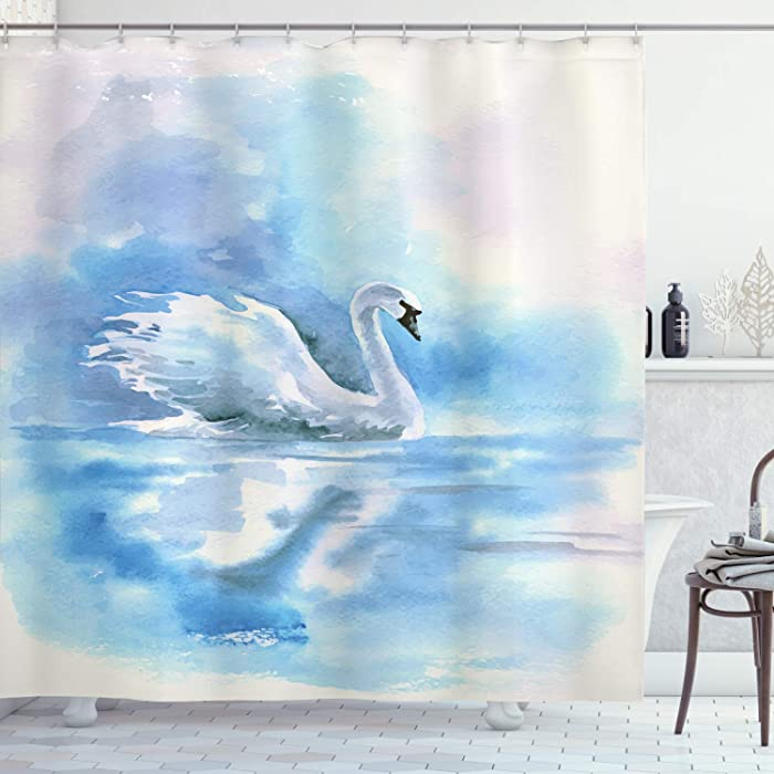 "Ambesonne Swan Shower Curtain, Watercolor Drawing Picture of Swan in The River Hazy Color Aqua Concept Picture Print, Cloth Fabric Bathroom Decor Set with Hooks, 70"" Long, White Blue"