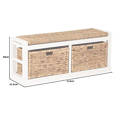 Excellent Hartleys Extra Wide 2 Drawer Storage Bench With Wicker Cushion Baskets Pdpeps Interior Chair Design Pdpepsorg