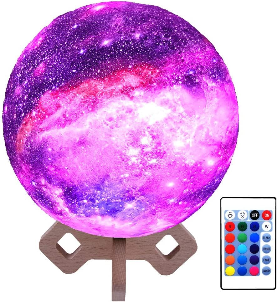 16 Colour Moon Galaxy Lamp USB Night Light Kids Dimmable LED 3D Remote X8Q1