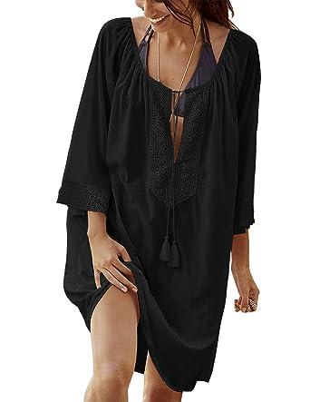 Voqeen Womens Bikini Blouse Cover up Short Sleeve V-Neck Beach Skirt Bikini Dress Beachwear