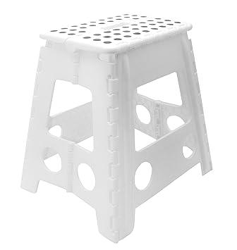 Klapphocker weiß  Zollner Tritthocker zusammenklappbar, Weiß Höhe ca. 39 cm (weitere ...